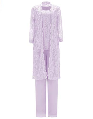 SOLOVEDRESS Women's Three Piece Lace Outfit Chiffon Mother of The Bride Dress Pants Suits for Wedding(Lavender,US16)