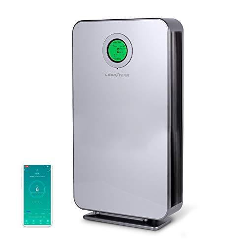 Goodyear purificador de Aire HEPA con 6 Niveles de filtrado hasta 152 m2, luz Ultravioleta C.