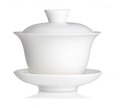 Chinois main traditionnel blanc tasse à thé composé de Tasse, Soucoupe et couvercle – Fabriqué de porcelaine fine