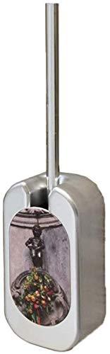 Borstel van het toilet Milieuvriendelijk Borstel van het toilet, roestvrij staal lange steel, Verborgen Elegant toiletborstel wc-borstel en beugel.voor badkamer opberg Deep Cleaning (Kleur: wit) 8bayf