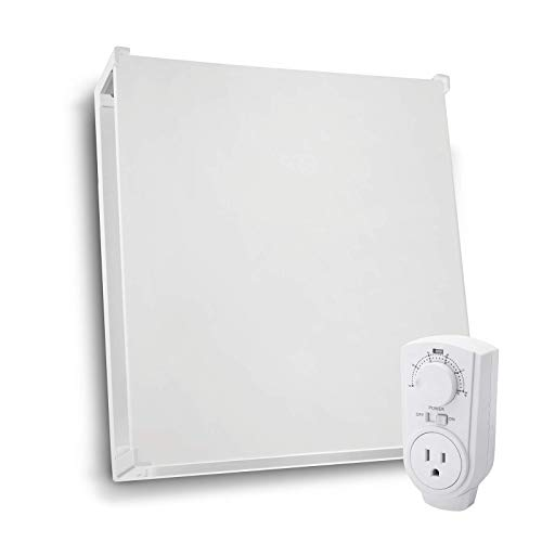EconoHome Wall Mount Space Heater Panel - with Thermostat and Heat Guard Cover - 400W Convection Heater - For 120 Sq Ft Room - 120V - Save Up to 50% of Electric Heating Cost - Overheat Protection