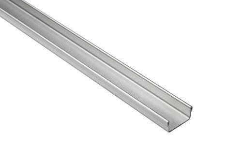 Perfil en U de 15 mm de acero inoxidable para baldosas, color plateado cepillado