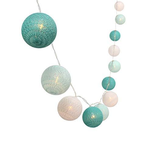 Guirlande lumineuse de 3 m avec 30 boules à LED en coloré - Fonctionne avec des piles, idéale pour Noël ou un mariage bleu/blanc