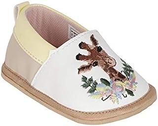 KazarMax White PU Giraffe Embroidery Baby Booties (Made in India)