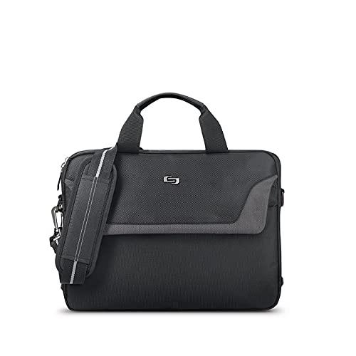 Solo New York Flatiron Slim Laptop Briefcase, Black/Grey, 14.1 Inch