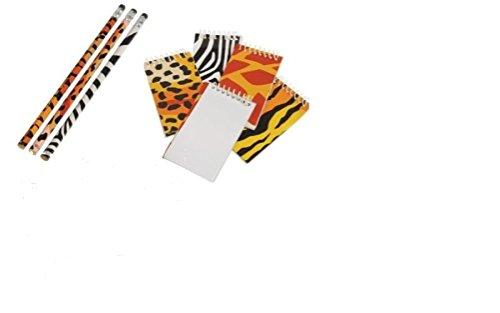 5Star-TD Wild Animal/Safari Theme Party Favor Set / 12 Memo Pads /12 Pencils