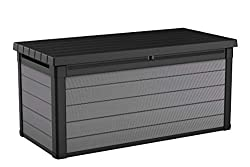 Keter Premier 150 Gallon Deck Container Box for Outdoor Patio Garden Furniture and Cushion Storage, Grey