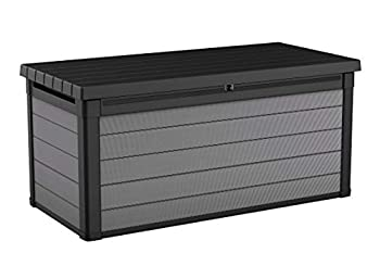 Keter Premier 150 Gallon Resin Large Deck Box for Patio Garden Furniture Outdoor Cushion Storage Pool Accessories and Toys Grey
