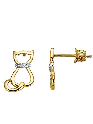 KLiNGEL Katzen-Ohrstecker mit Diamant Gelbgoldfarben