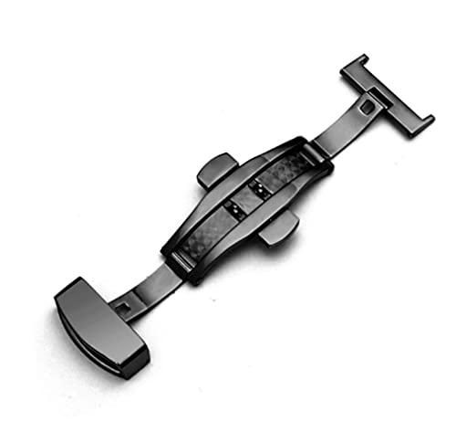 LINMAN 316L Halbautomatische doppelte Presse Schmetterlingsschnalle Uhr Push-Tasten-Falten-Silber-Verschluss-Watchband10-22mm (Color : Black, Größe : 18mm)