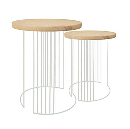 Tosel Elisa, Tables gigogne Filaire, Bois, Vert d'eau, 40 x 40 x 44 cm