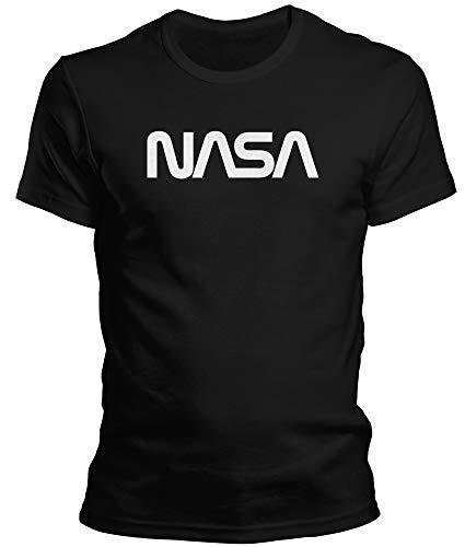 DragonHive Witziges Herren T-Shirt - NASA Worm Logo - Lustiges Fun Motiv Tshirt für Männer, Größe:XL, Farbe:Schwarz