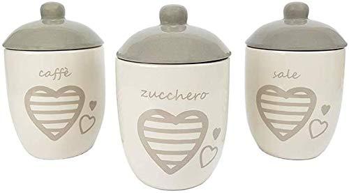 BuyStar Set da 3 barattoli, Porta Sale Zucchero caffè, in Ceramica Bianca, con Coperchio, con Cuori, Tris barattoli da Cucina