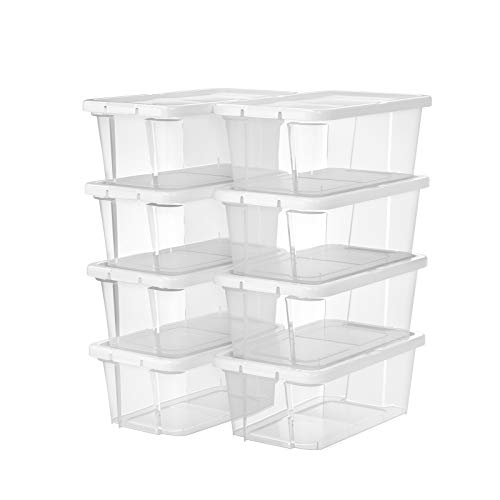 SONGMICS Schuhboxen mit Deckel, 8er Set, stapelbare Schuhkartons, durchsichtige Schuhorganizer, Schuhaufbewahrung, für Schuhe bis Größe 41 und andere Utensilien, transparent LSP11WT