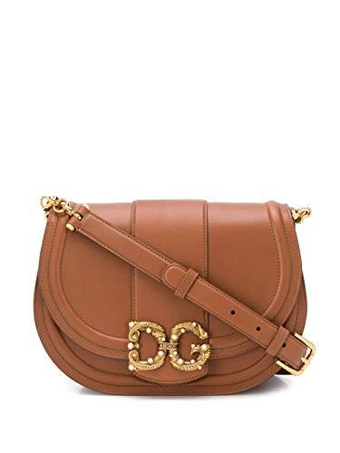 Luxury Fashion | Dolce E Gabbana Dames BB6826AK2958M308 Bruin Leer Schoudertassen | Lente-zomer 20