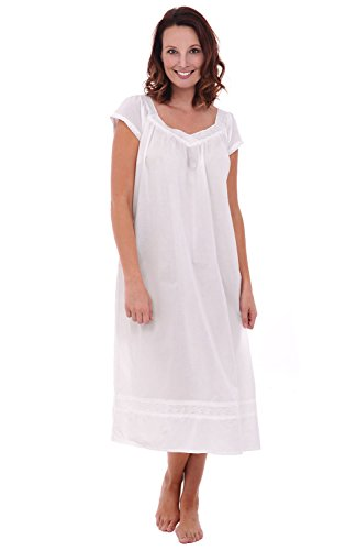 Alexander Del Rossa Womens Adele Cotton Nightgown, Long Victorian Sleepwear, X-Large White (A0528WHTXL)