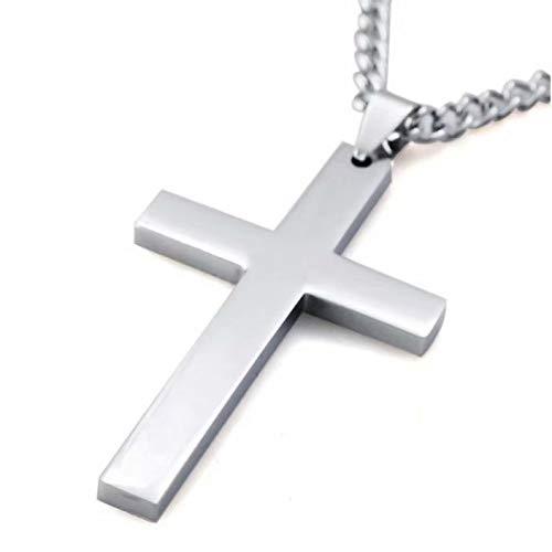 Coollooda Collar cruzado para hombres y mujeres Colgante de acero inoxidable Joyas Simple con cadena de trigo Silver No Circle