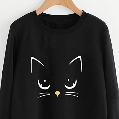 Women's Cat Print Top Blouse Loose Long Sleeve Pullover Shirt Cute Fashion Crew Neck Sweatshirt (S)