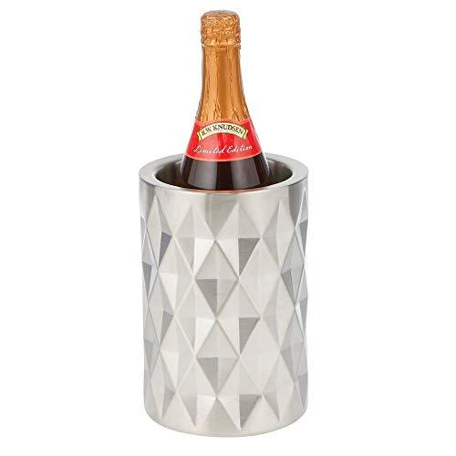 mDesign moderner Flaschenkühler – stylischer Weinkühler aus matt poliertem Metall – einzigartiger Flaschenhalter, der auch als Vase verwendet Werden kann – silberfarben