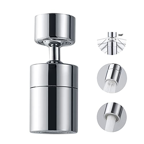 360 Degree Swivel Sink Faucet Aerator,2-FlowBig Angle Water Saving Dual Function,with Gasket Faucet Replacement Part - 55/64 Inch-27UNS Female Thread, 15/16 Inch-27UNS Male Thread Adapters