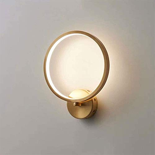 Luces de pared industriales, Lámpara de pared de baño de vanidad moderna Lámpara de pared de 18 vatios LED Sconence 10 'Alto anillo de pared de pared de alto cableado para lectura del dormitorio (colo