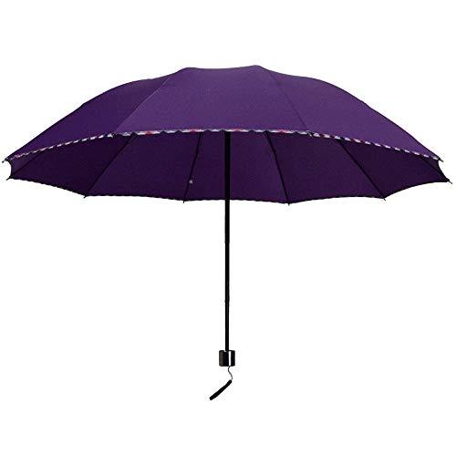 YXDEW Folding Umbrella Foding Travel Umbrella for Women Men Compact Travel Umbrella Windproof Reinforced Canopy Travel Umbrella waterproof (Color : Purple, Size : One Size)