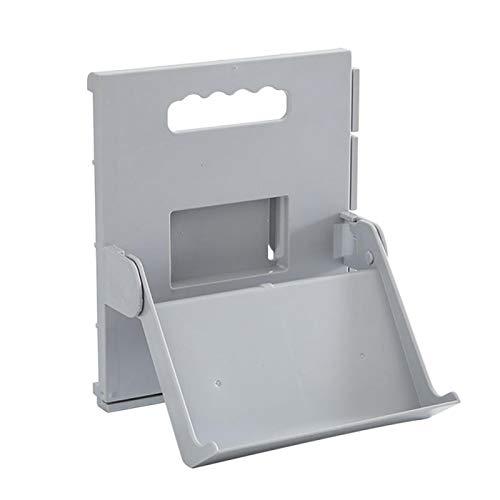 Amusingtao Zapatero autoadhesivo para baño, hogar, puerta de almacenamiento, soporte plegable, organizador de armario de plástico ABS montado en la pared (gris)