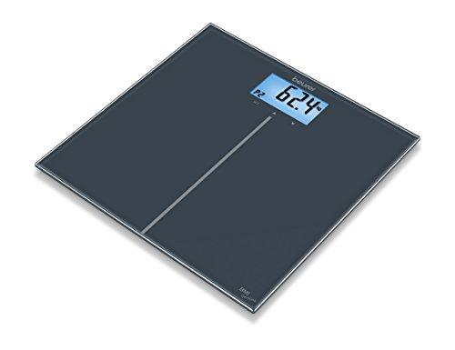 Beurer GS280 Genius - Báscula de baño digital de vidrio, IMC, LCD, 180 kg / 100 gr, apagado automatico, aviso de sobrecarga, color negro