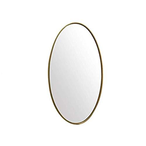 Decoración del hogar Espejos Espejo Ovalado, Espejo De Baño Moderno Dorado Espejo De Metal Montado En Pared Grande Para Porche Sala De Estar Homestay 40 * 60 Cm, 50 * 70 Cm Esp(Size:50*70CM,Color:Oro)
