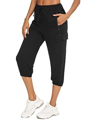 Wayleb Pantalones Capri Mujer Pantalones Piratas Mujer 3/4 Pantalon Deporte Pantalones Chandal para Casual Yoga Fitness Jogger con 4 Bolsillos