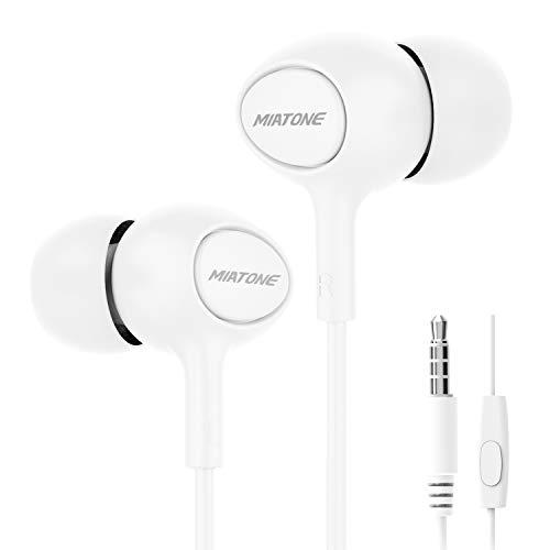 Earbuds/Earphones/Headphones, MIATONE Wired in- Ear Earbuds with Microphone, Dynamic Crystal Clear Sound Earphones, Ergonomic Comfort-Fit Ear Buds Headphones (White)