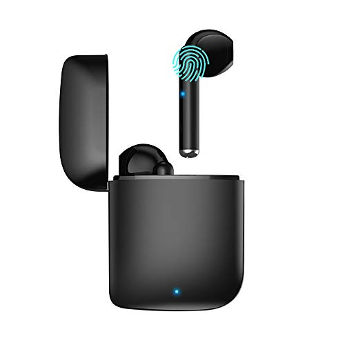 Wireless Headphones Bluetooth Earbuds with Charging Case Noise Cancelling 3D Stereo Headphones Built in Mic in Ear Ear Buds Pop-ups Auto Pairing Headphones for Andriod/AirPods Pro (Black) (Black)