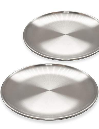 Outdoor Saxx® – 2 platos de acero inoxidable estable, platos de camping, platos de camping, platos de exterior, senderismo, camping, irrompibles, 17 cm, juego de 2