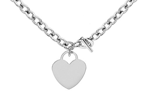 Tuscany Silver Sterling Silver Large Heart T-Bar Belcher Chain Necklace of 41cm/16'