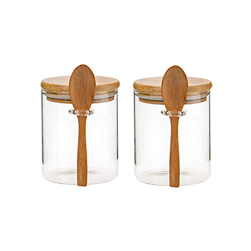 Piscepio Glass Jar Containers with Bamboo Airtight Lid Wooden Spoon Scoop Food Storage Canister Clear Glass Containers Kitchen Organization Jars 2 Pcs 450ML