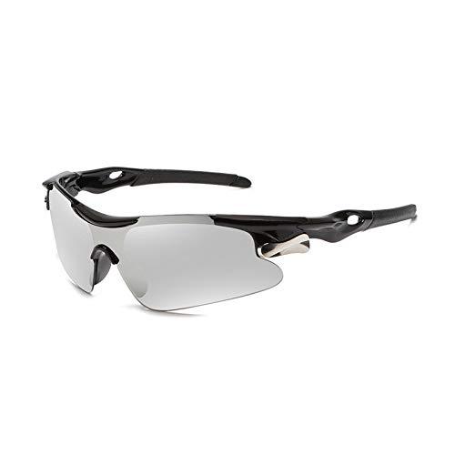 NSGJUYT Deportes de los Hombres Gafas de Sol Gafas de Camino de la Bicicleta de montaña Ciclismo Montar Gafas Gafas Gafas de Sol Bici de MTB (Color : Black White)