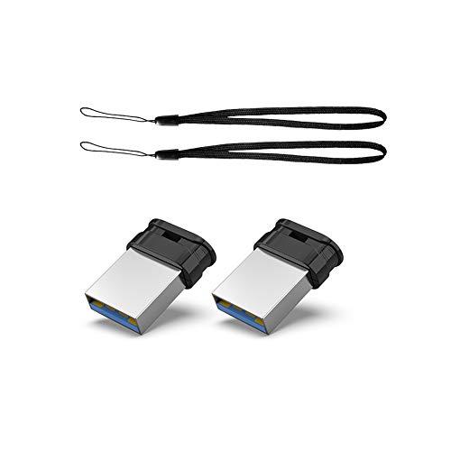 Clé USB 3.0 32Go Ultra Mini, Lot de 2 Clef USB 32Go,pendrive 64Go Stockage Externe Flash Drive à Haute Vitesse pour PC/TV/Autoradio (Noir, Lanière est Inclus)