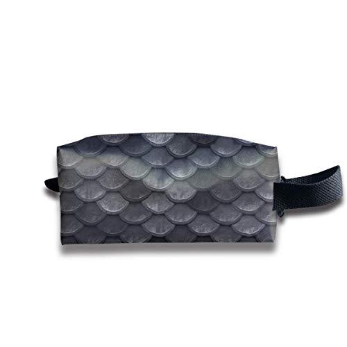 Beautiful Charcoal Gray Mermaid Fish Scales Storage Bag Women Cosmetic Train Case Holder -...