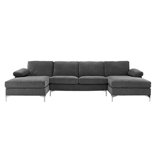 BHDesign Amanda XL – Sofá esquinero Panorámico, Xtra grande, moderno, terciopelo, color gris