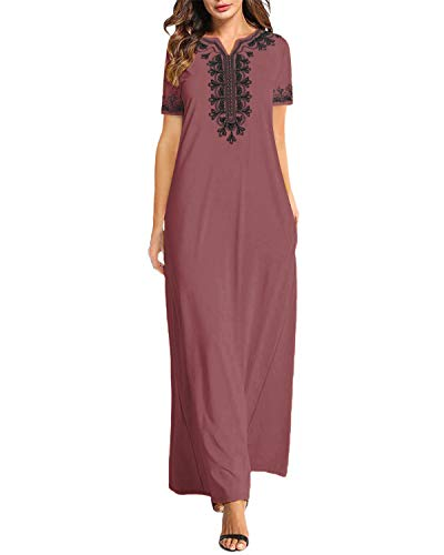 VONDA Sommerkleider Damen Lang Elegant Kurzarm Kleid Stickerei Kaftan Maxikleider Grafik Strandkleid B-Rot S
