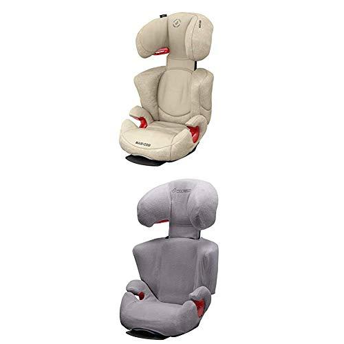 Maxi-Cosi Rodi AirProtect Kindersitz - höhenverstellbarer Autositz mit komfortabler Ruheposition, Gruppe 2/3 (15-36 kg), nutzbar ab 3,5 bis 12 Jahren, nomad sand + Sommerbezug, cool grey