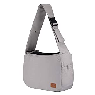 PETTOM Dog Sling Carrier Grey Small Dog Puppy Sling Pet Rabbit Cat Hands Free Adjustable Shoulder Carry Handbag with Mat Pad for Outdoor Travel 24