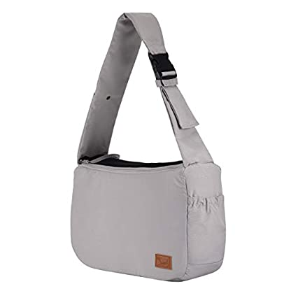 PETTOM Dog Sling Carrier Grey Small Dog Puppy Sling Pet Rabbit Cat Hands Free Adjustable Shoulder Carry Handbag with Mat Pad for Outdoor Travel 1