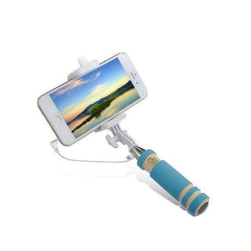 Mini Asta Selfie per Motorola Moto G 2G Smartphone con Cavo Jack Selfie Stick Android iOS Regolabile Pulsante Foto (Blu)