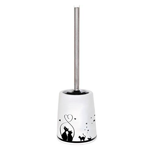 MSV Bad Serie Katze WC Bürste Toilettenbürste Klobürste WC Garnitur aus Keramik Weiß