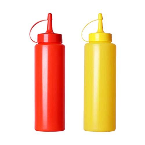 Botellas de salsa, 2 dispensadores de condimentos de 360 ml para condimentos, mayonesa, mostaza, salsa picante y aceite de oliva (amarillo y rojo)