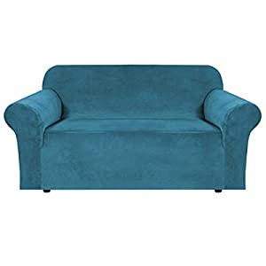 BellaHills Sofá de Terciopelo elástico con Funda de sofá Suave con Fondo elástico de Espuma Antideslizante para niños, Funda de sofá de Terciopelo Suave y Grueso (2 plazas, Azul Marino)