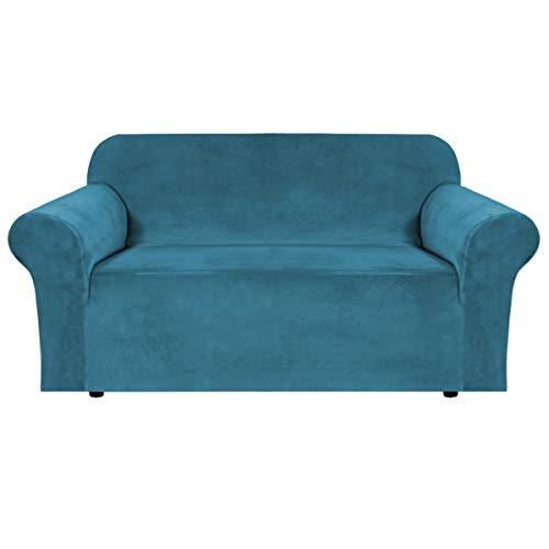 BellaHills Echte Samt Couchbezug für Sofa Schonbezüge Samt Plüsch Möbelbezug Ultra Stretch Sofabezüge Möbelschutz mit elastischem Boden (2-Sitzer, Blau)