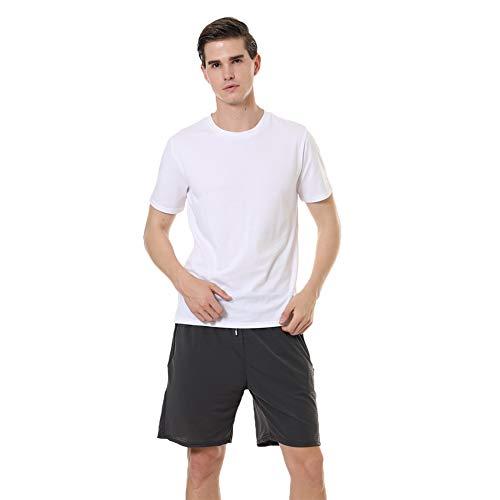 Herren T-Shirt Herren Basic T-Shirt Herren Sommer T-Shirt Sportswear Einfarbig Tee Crew Neck T-Shirt (Weiß, Medium)