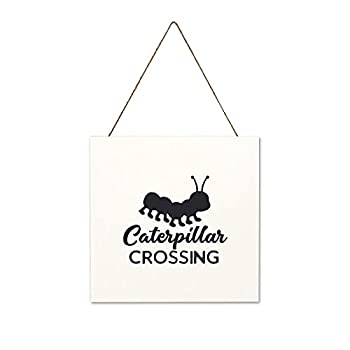 Jeartyca Caterpillar Crossing Black-01 Sign Wall Decorative 12 x12  Farmhouse Wood Hanging Sign Holiday Wood Sign Plaque for Home Decor Thanksgiving Christmas